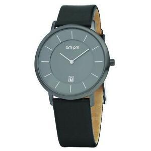腕時計 エーエム:ピーエム メンズ AMPM Men's Quartz Watch PD107-G046 Gray IP Steel Case Black Leather Strap|aurora-and-oasis