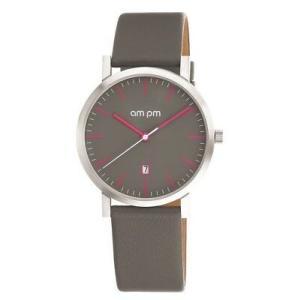 腕時計 エーエム:ピーエム メンズ AMPM Unisex Analogue Quartz Watch PD130-U139 Steel Case Gray Leather Strap|aurora-and-oasis