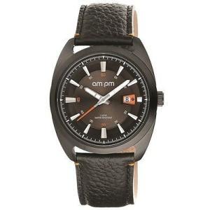 腕時計 エーエム:ピーエム メンズ AMPM Men's Quartz Watch PG120-U100 Black IP Steel Case Black Leather Strap|aurora-and-oasis