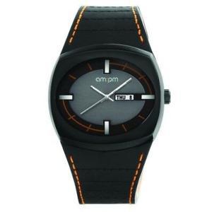 腕時計 エーエム:ピーエム メンズ AMPM Men's PG127-U082 Black IP Steel Case Black Leather Strap Quartz Watch|aurora-and-oasis