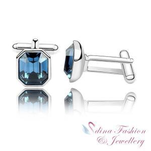 カフス スワロフスキー スクエアジーンブルー Jean Blue 18K White Gold Plated Made With Swarovski Crystal Mens Charismatic Cufflinks aurora-and-oasis