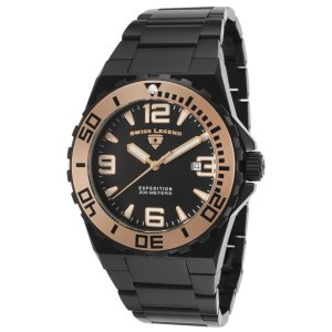 腕時計 スイスレジェンド メンズ Swiss Legend Men's 10008-BB-11-RA Black Stainless Steel Bracelet Quartz Watch|aurora-and-oasis