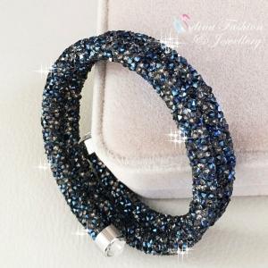 バングル スワロフスキー ブルーブラック Blue 18K White Filled Plated Made With Swarovski Crystal Stylish 2 Row Stretch Bangle|aurora-and-oasis