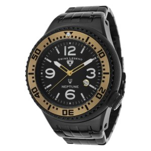 腕時計 スイスレジェンド メンズ Swiss Legend Men's Neptune Black Stainless Steel Quartz Watch 21819P-BB-11-GA|aurora-and-oasis