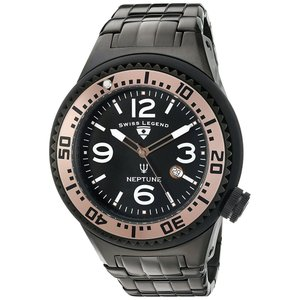 腕時計 スイスレジェンド メンズ Swiss Legend Men's Neptune Black Stainless Steel Quartz Watch 21819P-BB-11-RA|aurora-and-oasis