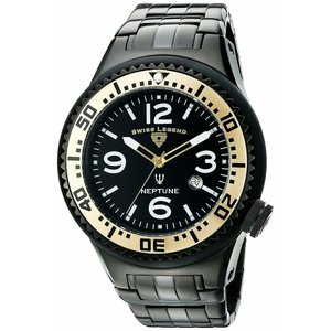 腕時計 スイスレジェンド メンズ Swiss Legend Men's Neptune Black Stainless Steel Quartz Watch 21819P-BB-11-GB|aurora-and-oasis