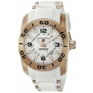 腕時計 スイスレジェンド メンズ Swiss Legend Men's Rose Gold Steel Case White Strap Quartz Watch 10069-RG-02S-WHT|aurora-and-oasis