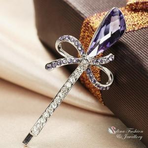 ヘアピン スワロフスキー ライラック Lilac 18K White Gold Plated Made With Swarovski Crystal Bow knot Lilac Hair Clip|aurora-and-oasis