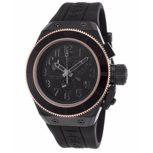 腕時計 スイスレジェンド メンズ Swiss Legend Men's Black Steel Case & Rubber Strap Quartz Watch 13845-BLK-RB|aurora-and-oasis