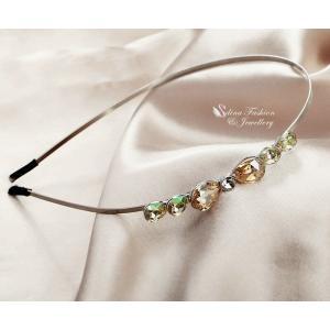 カチューシャ スワロフスキー リボン Luminous Green + Champagne 18K White Gold Plated Made With Swarovski Crystal Teardrop Hair Hoop Headband|aurora-and-oasis