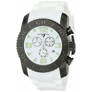 腕時計 スイスレジェンド メンズ Swiss Legend Men's Black steel case white rubber strap Quartz Watch 10067-GM-02|aurora-and-oasis