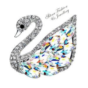 ブローチ スワロフスキー スワンクリア Colorful Thick 18K White Gold Filled Made With SWAROVSKI Element Colorful Swan Brooch aurora-and-oasis