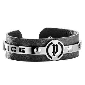 ブレスレット ポリス メンズ Police Men's Justice Black Leather & Silver Stainless Steel Bracelet 25496BLB/01|aurora-and-oasis