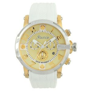 腕時計 マルコ Mulco Unisex MW3-12239-012 Gold-Tone Dial White Silicone Band Quartz Watch|aurora-and-oasis