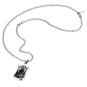 ネックレス ポリス メンズ Police Men's RIDER Stainless Steel Necklace Black and Silver 25325PSS/01|aurora-and-oasis