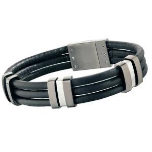 ブレスレット ポリス メンズ Police Men's TAMPA Black Leather Bracelet Stainless Steel Buckle 24726BLU/01-L|aurora-and-oasis