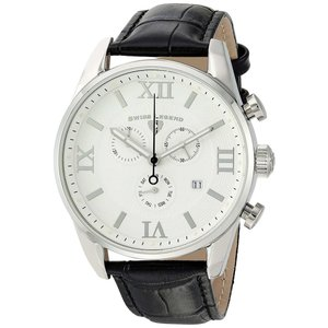 腕時計 スイスレジェンド メンズ Swiss Legend Men's 22011-02-BLK Black Leather Strap Silver Case Quartz Watch|aurora-and-oasis