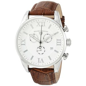 腕時計 スイスレジェンド メンズ Swiss Legend Men's 22011-02-BRN Brown Leather Strap Silver Case Quartz Watch|aurora-and-oasis