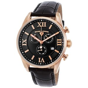 腕時計 スイスレジェンド メンズ Swiss Legend Men's 22011-RG-01-BLK Black Leather Strap Black Dial Quartz Watch|aurora-and-oasis
