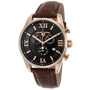 腕時計 スイスレジェンド メンズ Swiss Legend Men's 22011-RG-01-BRN Black Leather Strap Brown Dial Quartz Watch|aurora-and-oasis