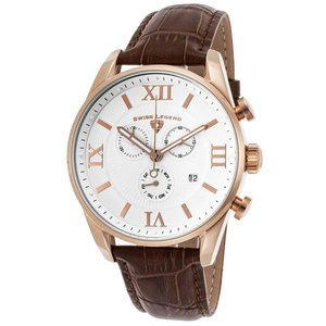 腕時計 スイスレジェンド メンズ Swiss Legend Men's 22011-RG-02-BRN Brown Leather Strap White Dial Quartz Watch|aurora-and-oasis