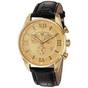 腕時計 スイスレジェンド メンズ Swiss Legend Men's 22011-YG-010-BLK Black Leather Strap Gold Dial Quartz Watch|aurora-and-oasis