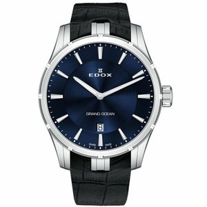 腕時計 エドックス メンズ Edox 560023CBUIN Men's Grand Ocean Silver-Tone Quartz Watch|aurora-and-oasis