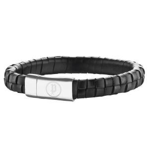 ブレスレット ポリス メンズ Police Men's Connector Black Leather Bracelet Steel Buckle 25689BLB/01-L|aurora-and-oasis