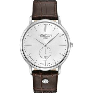 腕時計 ローマー メンズ Roamer Men's Vanguard Brown Leather Strap Quartz Watch 980812 41 15 09|aurora-and-oasis