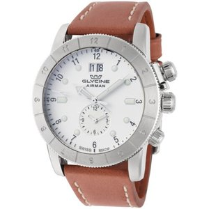 腕時計 グリシン グライシン メンズ Glycine Men's GL0149 Airman 42 GMT 42mm Quartz Ivory Dial Brown Leather Watch|aurora-and-oasis
