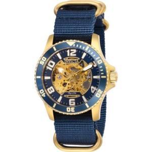 腕時計 インヴィクタ インビクタ メンズ Invicta 27591 Objet D Art Men's 42mm Automatic Gold-Tone Steel Blue Skeleton|aurora-and-oasis