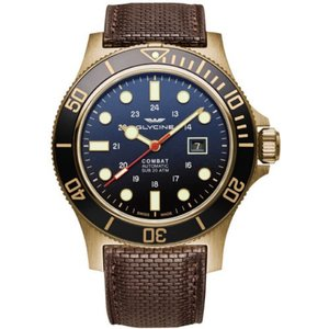 腕時計 グリシン グライシン メンズ Glycine Men's GL0200 Combat Sub 48 Bronze Automatic 48mm Blue Dial Brown Leather|aurora-and-oasis