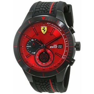 腕時計 フェラーリ メンズ Ferrari Men's 830343 Red Rev Evo 46mm Chronograph Red Dial Watch 0830343|aurora-and-oasis