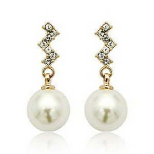 ピアス スワロフスキー ダングルパール White Women 18k Rose Gold Plated Dangle White Pearl Wedding Bridal Earring XE22|aurora-and-oasis