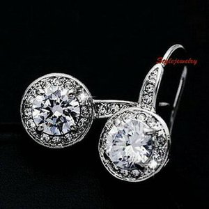 ピアス スワロフスキー ラウンドドロップクリア Silver 18k White Gold Filled Round Drop Dangle Earring Made With Swarovski Crystal IE81|aurora-and-oasis