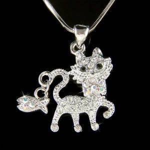 ネックレス スワロフスキー キャット w Swarovski Crystal ~KITTY CAT~ Kitten Fish Charm Pendant Chain Necklace Jewelry aurora-and-oasis