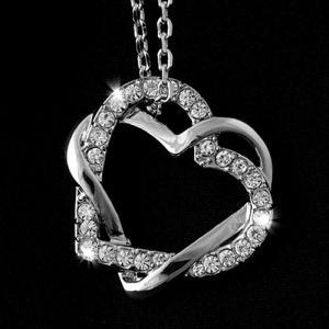 ネックレス スワロフスキー ハートクリア 18k White Gold Plated Love Heart Pendant SWAROVSKI CRYSTALS + Necklace Jewelry aurora-and-oasis