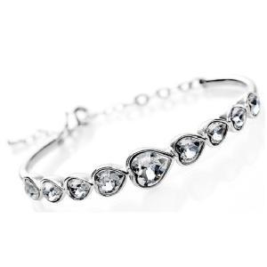 ブレスレット スワロフスキー ラブハートクリア White White Gold Filled Silver Wedding Heart Bangle Made With Swarovski Crystal T46 aurora-and-oasis