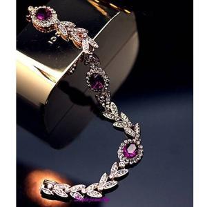 ブレスレット スワロフスキー オーバルアメジストパープル Purple Rose Gold Filled Purple Bridal Wheat Bracelet Made With Swarovski Crystal T36 aurora-and-oasis