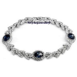 ブレスレット スワロフスキー オーバルサファイアブルー Blue Silver Sapphire Blue Stone Wheat Style Bracelet Made With Swarovski Crystal T31 aurora-and-oasis