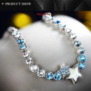 ブレスレット スワロフスキー スタークリア&ブルー Silver 18k White Gold Filled Mother Pearl Star Bracelet Made With Swarovski Crystal T13 aurora-and-oasis