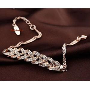 ブレスレット スワロフスキー ニットローズゴールド Gold Rose Gold Filled Clear Women Twisted Bar Bracelet Made With Swarovski Crystal T7 aurora-and-oasis