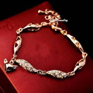 ブレスレット スワロフスキー フォックスローズゴールド Gold Rose Gold Filled Made with Swarovski Crystal Women Fashion Fox Bracelet T11 aurora-and-oasis