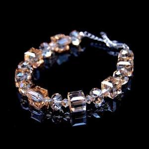 ブレスレット スワロフスキー シャンパンスクエア Champagne Women Yellow Champagne Square Made With Swarovski Crystals Bridal Bracelet T16 aurora-and-oasis
