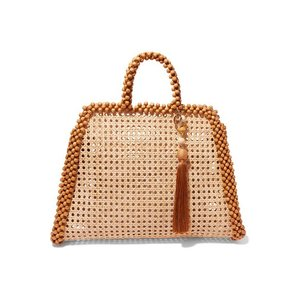 ROSANTICA ロザンティカ ハンドバッグ ウィッカー Schultz tasseled bead-embellished wicker tote|aurora-and-oasis