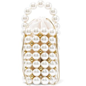 VANINA バニーナ ハンドバッグ パール Comino faux pearl and gold-tone beaded tote|aurora-and-oasis