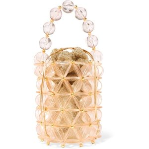 VANINA バニーナ ハンドバッグ ピーチ Icaria acrylic and gold-tone beaded tote|aurora-and-oasis