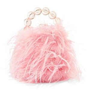 VANINA バニーナ ハンドバッグ フェザーピンク Inagua faux pearl and feather tote|aurora-and-oasis