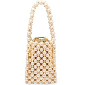 VANINA バニーナ ハンドバッグ パール Sicilia faux pearl and gold-tone beaded tote|aurora-and-oasis