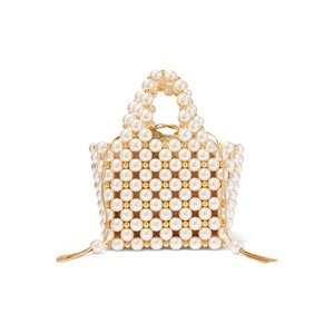 VANINA バニーナ ハンドバッグ パール Simi small faux pearl and gold-tone beaded tote|aurora-and-oasis